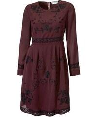 Rick Cardona Šifónové šaty bordó s čiernou výšivkou bf9b49770b