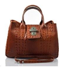Kožená luxusní krokodýlí hnědá koňaková kabelka do ruky lila VERA PELLE  26084 06745be32d3