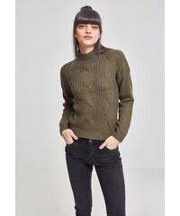 e4b4225e8864 URBAN CLASSICS Dámsky olivový sveter Ladies Short Turtleneck Sweater