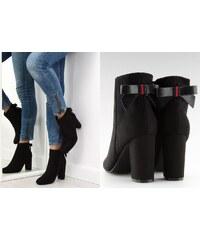 1be2e4415c3 BELER Kotníkové boty na podpatku s mašličkou Chloris černé