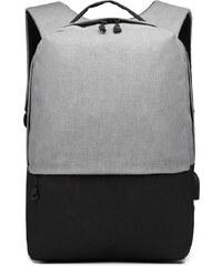 e056c8f51d2 KONO šedo-černý elegantní batoh nepromokavý s USB portem UNISEX