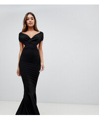 PrettyLittleThing exclusive off the shoulder cut out maxi dress in black -  Black 6232661c3e