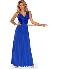 42ba0648cbd5 Numoco Kráľovsky modré dlhé šaty s čipkovaným dekoltom 211-3