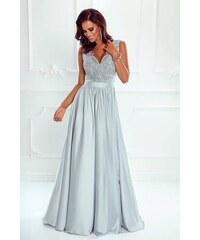 c4f7435b00c8 Dlouhé elegantní šaty Juliette šedostříbrné 40