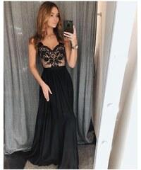 718383ca2c0 Dlouhé elegantní šaty Juliette černé s béžovou 40