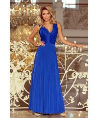 NUMOCO Modré dámske šaty s hlbokým výstrihom 211-3 11613509c03