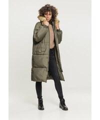 Dámska zimná bunda URBAN CLASSICS Ladies Oversize Faux Fur Puffer Coat  darkolive beige 1bc1cacf03b
