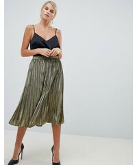 807ebf452be Forever Unique Metallic Gold Pleated Skirt - Gold