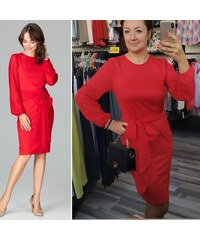 82aa3fc633ed Lenitif Červené elegantné púzdrové šaty so šifónom a viazaním K494