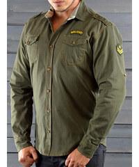 609646c58b1 MODANOEMI Pánská ležérní khaki košile MNE4302
