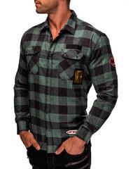 MODANOEMI Pánská zelená košile s nášivkami MNE2503C 3d00b96316
