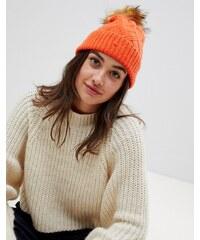 0424800a28ef0 Boardmans beanie hat with faux fur pom - Orange