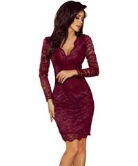 85670d64909 numoco Společenské dámské šaty s dlouhým rukávem krajkové bordó
