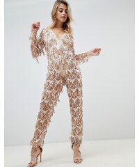 PrettyLittleThing tassel sequin jumpsuit in gold - Gold 3f9199b604
