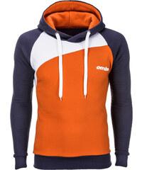 Ombre Clothing Pánská mikina ke krku s kapucí Miguel grafitovo-oranžová f158198d5c