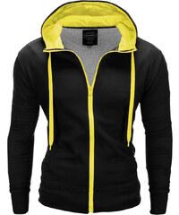 Ombre Clothing Pánská mikina na zip s kapucí Vulpeck černo-žlutá 141e4aa618d