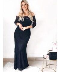 ZAZZA Dlhé elegantné čierne čipkované šaty 2d78f49204b