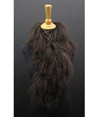 Splus Kožešinová šála z tibetské ovce tmavě hnědá - délka 83 cm a38bd3e8af
