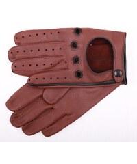 2ead7d02715 ND Pánské kožené řidičské rukavice 1448P tmavě koňakově hnědé s černými  detaily