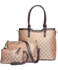 Miss Lulu kabelkový set hnědá kabelka shopper 8b9541d82a5
