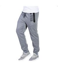 57cfcba328a0 Ombre Clothing Pánské tepláky s kapsami na zip Circuit šedé