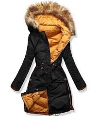 MODOVO Dámska zimná bunda s kapucňou A5 čierno-oranžová 7b6da328bbe