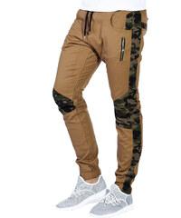 6c2baff95e6c Ombre Clothing Hnědé pánské maskáčové jogger kalhoty Blaise