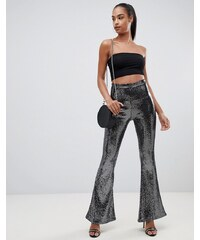 606275b7989 PrettyLittleThing flare trousers in black sequin - Black