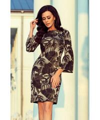 ae1db37436a1 NUMOCO Khaki šaty so vzorom listov 221-1