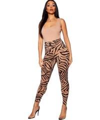 BOOHOO Hnedé legíny zebra 24d3d433df