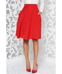 Piros StarShinerS elegáns harang szoknya magas derekú enyhén elasztikus  szövet bad208eec8