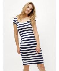 Bielo-modré pruhované puzdrové šaty s okrúhlym výstrihom ZOOT 4ddaa66d2ca