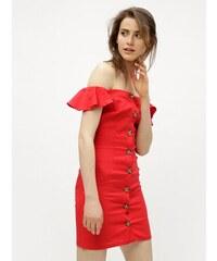 Červené ľanové šaty s odhalenými ramenami Miss Selfridge Button 2eff1536c65