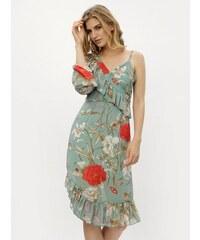 Zelené asymetrické kvetované šaty s volánmi MISSGUIDED f3675b0cf9f