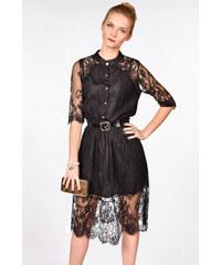 iné Čierne čipkované šaty s opaskom 4031e7f4b7b