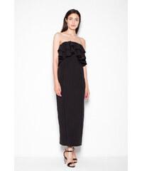 39dd385bc12 Dlouhé šaty s volánem Venaton Vt089 černé