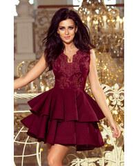 c49c83c425f2 numoco Exkluzivní dámské šaty v bordó barvě s krajkovým výstřihem 200-8  CHARLOTTE