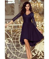 7f0a7a308fe NUMOCO Tmavě modré šaty NICOLLE s krajkovými rukávy 210-2