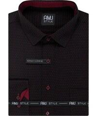 463c370b768 AMJ Pánská košile černá puntíkovaná VDR1013
