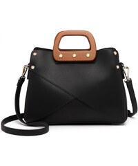fe57923060 Černá dámská nadčasová kabelka s dřevěnou rukojetí do ruky i přes rameno  Pandie