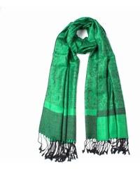 9e5c44be5a7 Y-wu Šála PAŠMÍNA INDIE třásně sytě zelená 190 70