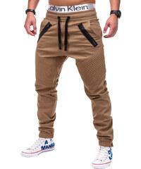 e91db7308b6 Ombre Clothing Pánské hnědé slim fit jogger kalhoty Benton
