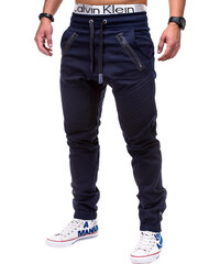 4c626f1ba74 Ombre Clothing Pánské tmavě modré slim fit jogger kalhoty Benton