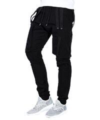 Ombre Clothing Pánské kapsáčové kalhoty Spider černé de5337c59f