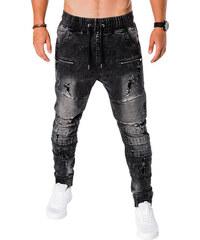 Ombre Clothing Pánské roztrhané džíny Danula černé d51b63ff8d