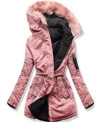 MODOVO Női téli kabát kapucnival B-736 púderrózsaszín-fekete eaade6d7c1
