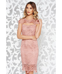 9055742da0 StarShinerS Rózsaszínű elegáns ceruza ruha mellrésznél kivágott