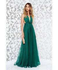 Zöld StarShinerS alkalmi tűll ruha masni díszítéssel v-dekoltázzsal 8714e0bb8e