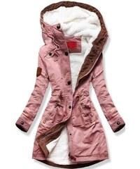 MODOVO Dámska zimná bunda s kapucňou A931 púdrová 07b163a88be