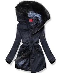 MODOVO Dámska zimná bunda s kapucňou A-16 tmavo modrá 2e0989db747